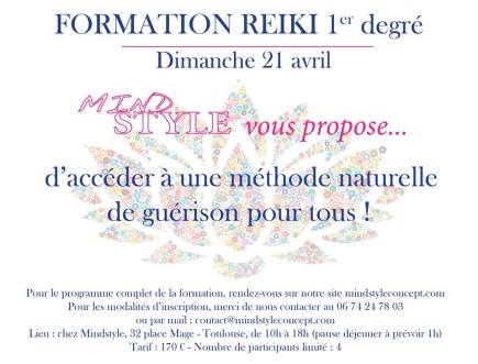 Flyer Formation Reiki Mindstyle Toulouse